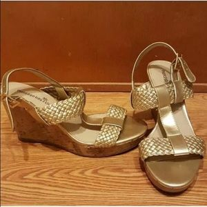 """SOLD Montego Bay Club Gold 4"""" wedge sandals 8"""